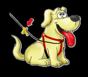 geel lintje bij hond